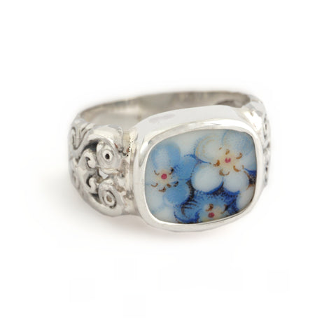 Size 8 Broken China Jewelry Blue Forget Me Not Flowers Carved Sterling Ring