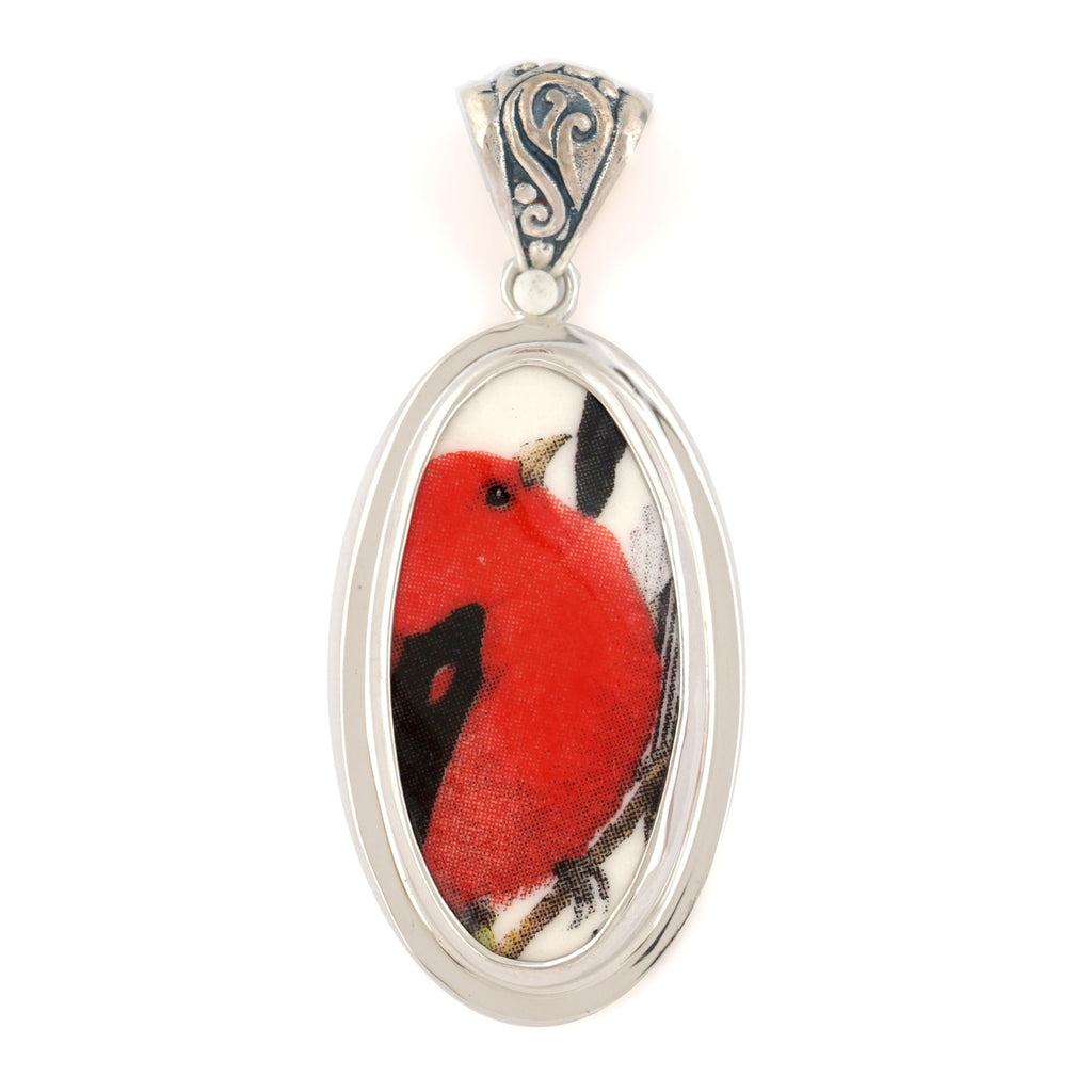 Broken China Jewelry Scarlet Tanager Red Bird Sterling Tall Oval Pendant