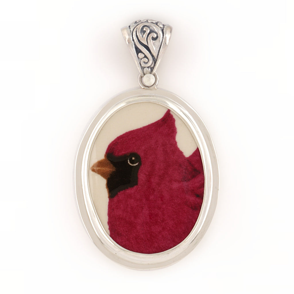 Broken China Jewelry Sweet Cardinal Red Bird Portrait Facing Right Sterling Oval Pendant