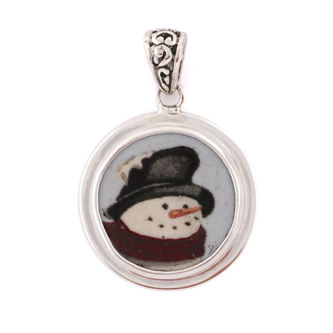 Broken China Jewelry Winter Christmas Classic Snowman Small Sterling Circle Pendant