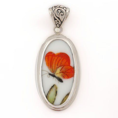 Broken China Jewelry Orange Butterfly on Green Leaf Sterling Tall Oval Pendant