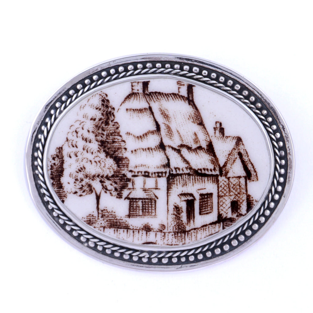 Broken China Jewelry Johnson Bros Olde English Countryside Cottage Sterling Pin Brooch