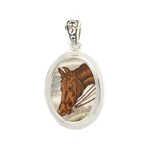Broken China Jewelry Copeland Spode Hunt Horse Closeup B Sterling Oval Pendant