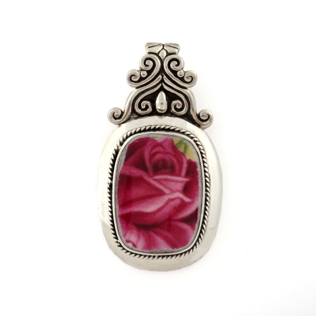 Broken China Jewelry - Royal Albert Old Country Roses Bud - Sterling Scroll Pendant