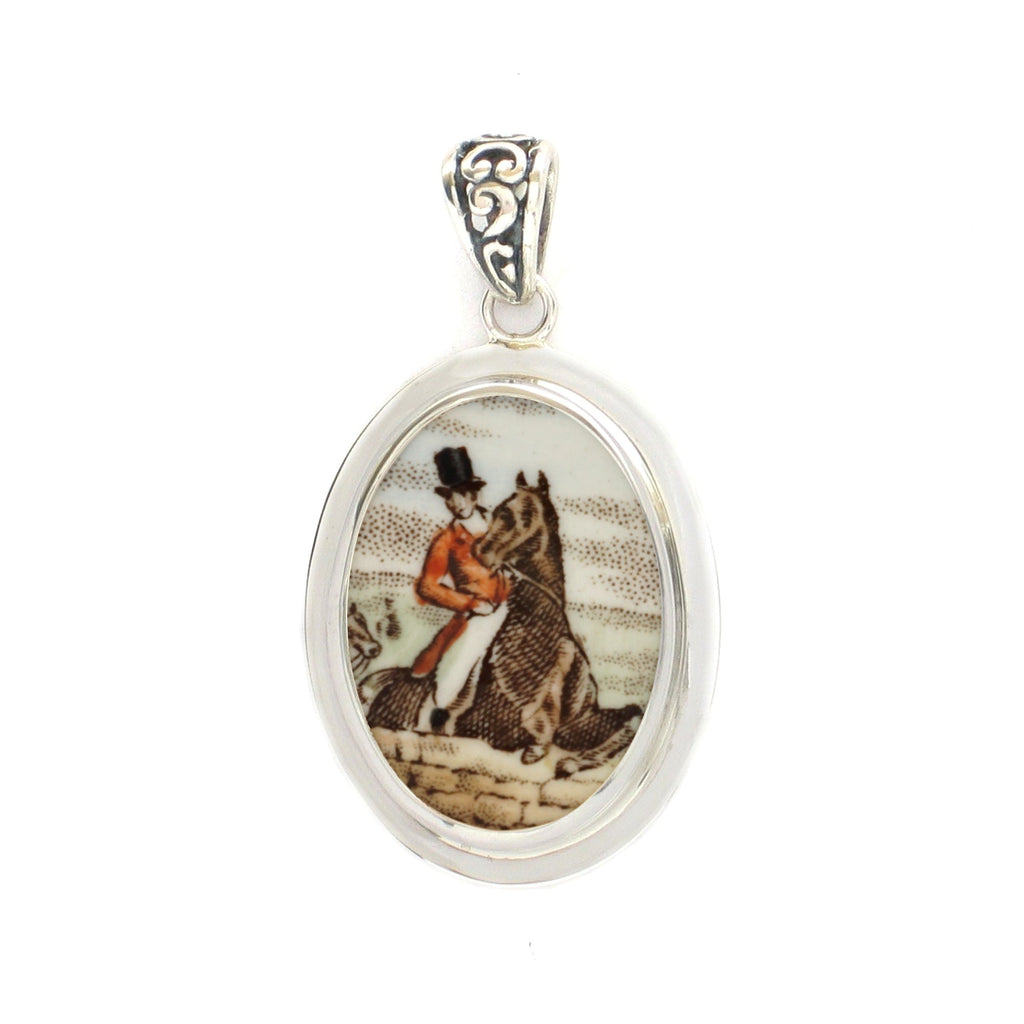 Broken China Jewelry Copeland Spode Hunt Horse and Rider Sterling Oval Pendant
