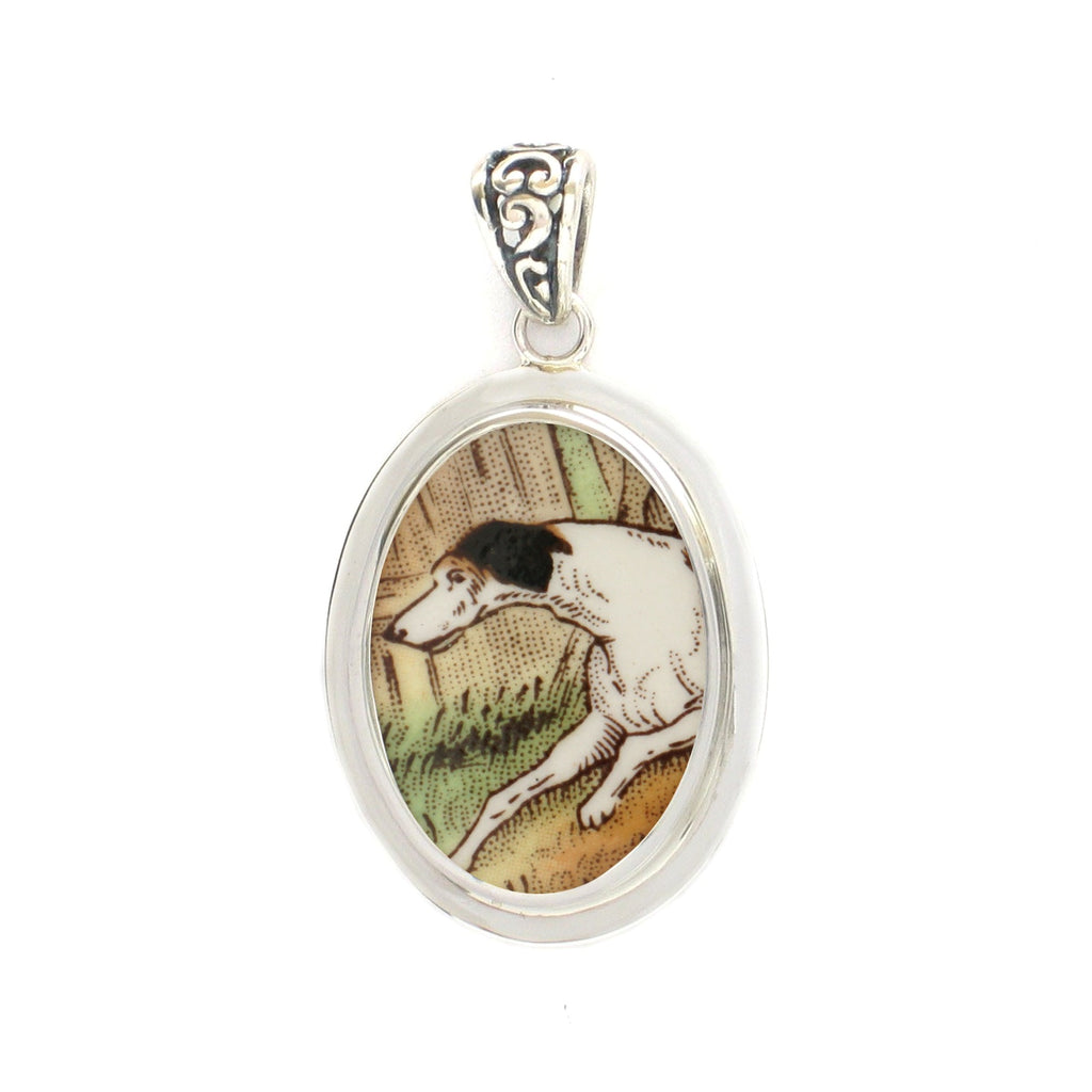 Broken China Jewelry - Copeland Spode Hunt Hunting Dog - Sterling Silver Pendant