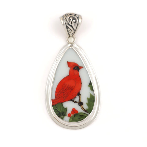 Broken China Jewelry Cardinal Red Bird Full Profile Facing Right Sterling Drop Pendant