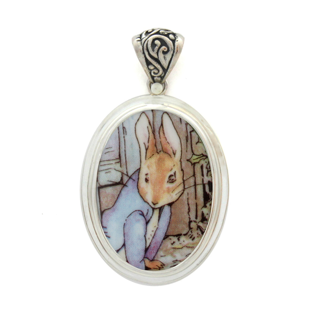 Broken China Jewelry Wedgwood Beatrix Potter Peter Rabbit Under Fence Sterling Pendant