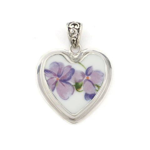 Broken China Jewelry Purple Violet Flower Sterling Heart Pendant