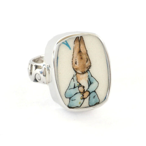 SIZE 8 Broken China Jewelry Beatrix Potter Peter Rabbit with Jacket Sterling Ring