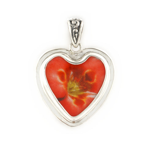 Broken China Jewelry Red California Poppy Flower Sterling Heart Pendant