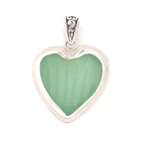 Broken China Jewelry Fire King Pale Green Jadeite Sterling Heart Pendant