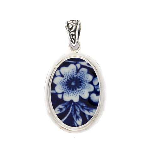 Broken China Jewelry Burleigh Blue Calico Single Flower Sterling Silver Oval Pendant