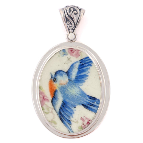 Broken China Jewelry Sweet Vintage Bluebird Left Facing w Pink Roses Sterling Oval Pendant