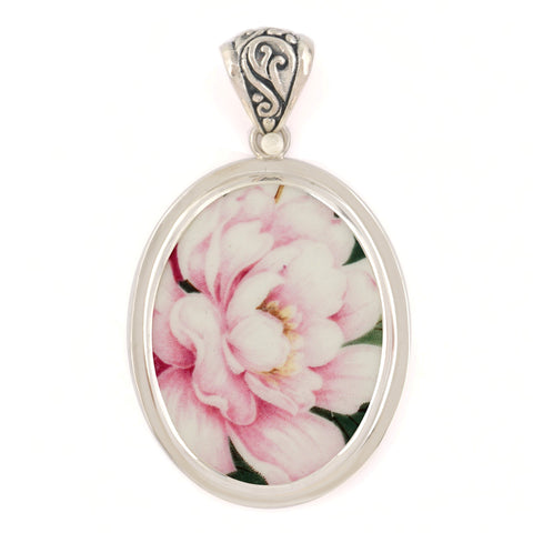 Broken China Jewelry Pope Gosser Pink Peony Flower Sterling Oval Pendant