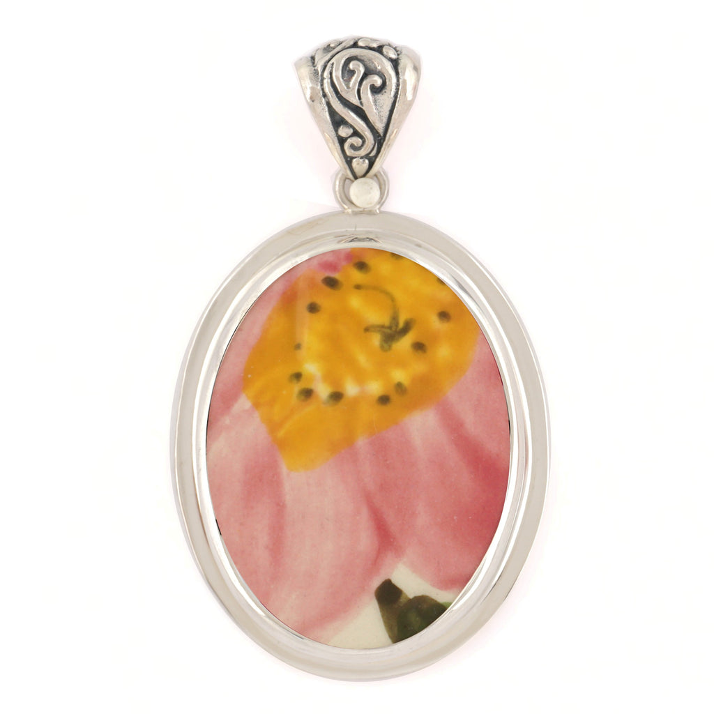 Broken China Jewelry Franciscan Desert Rose Pink Rose Pendant