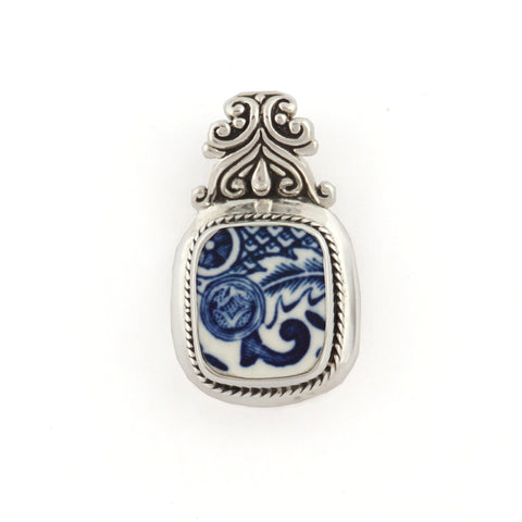 Broken China Jewelry Churchill Blue Willow Scroll Sterling Silver Pendant