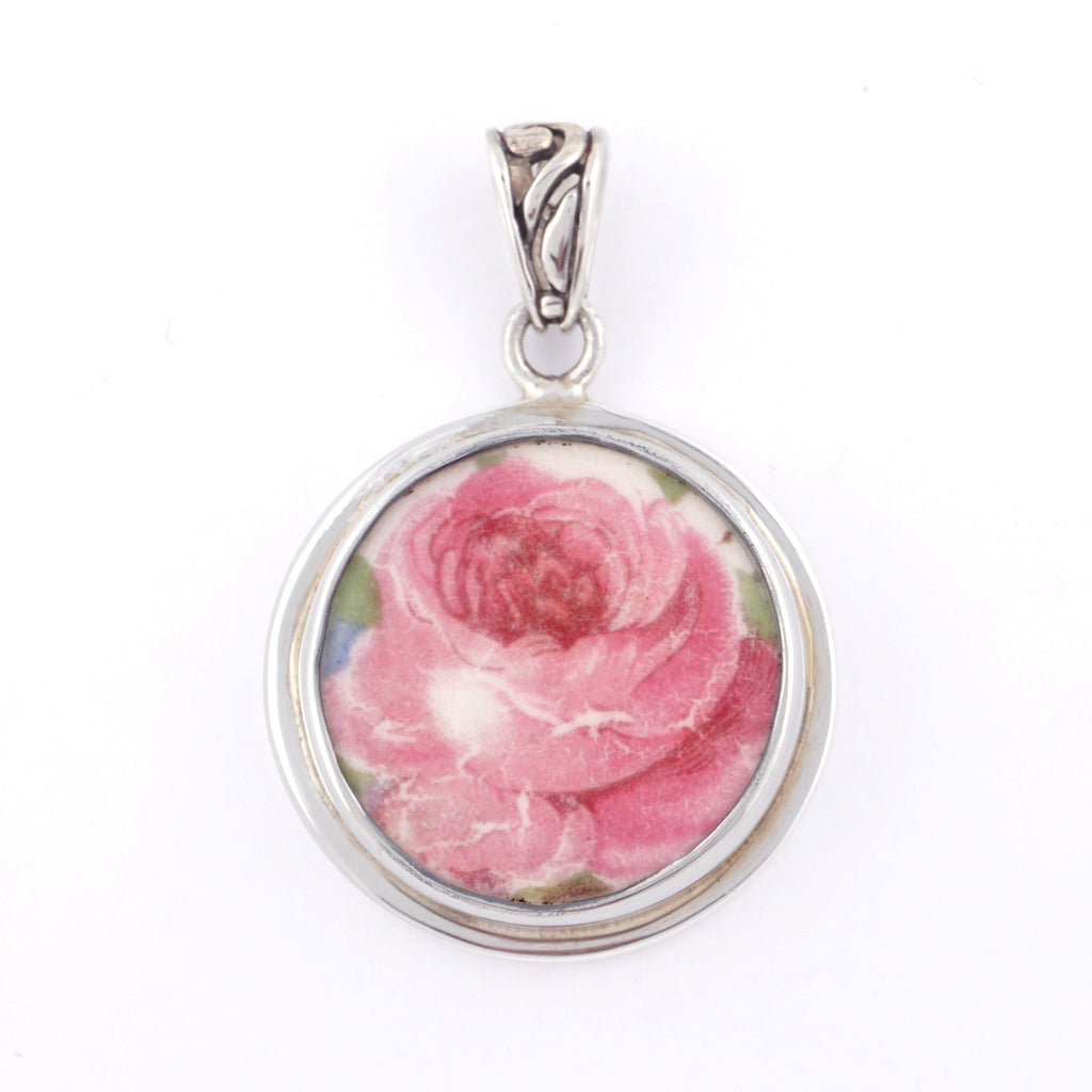 Broken China Jewelry Washington Colonial Pink Cabbage Rose Sterling Circle Pendant