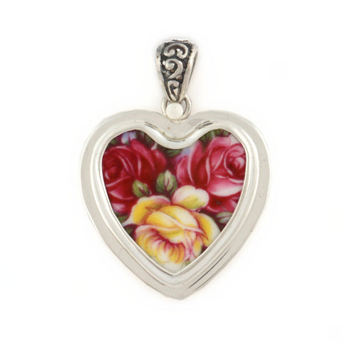 Broken China Jewelry Queen Anne Red Pink Yellow Roses Flower Sterling Heart Pendant