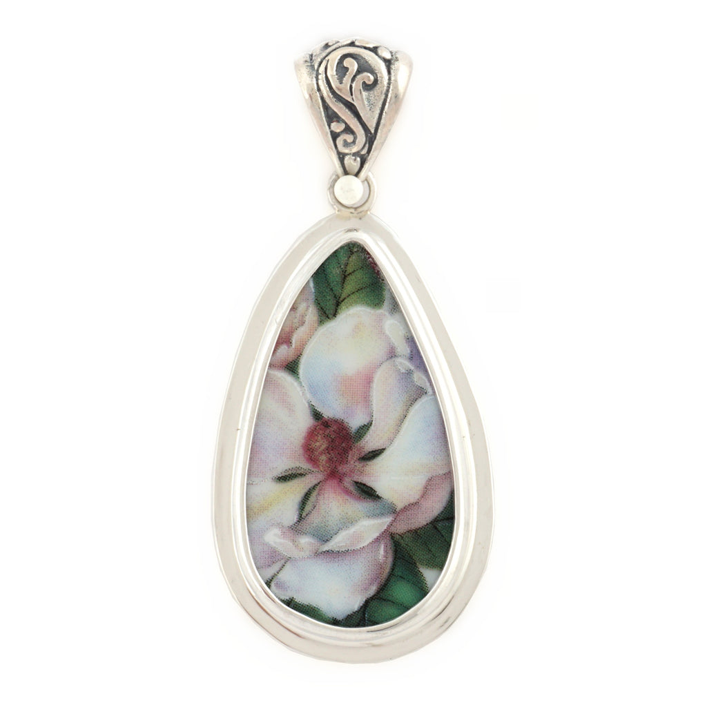 Broken China Jewelry White Magnolia Flower Sterling Tall Drop Pendant
