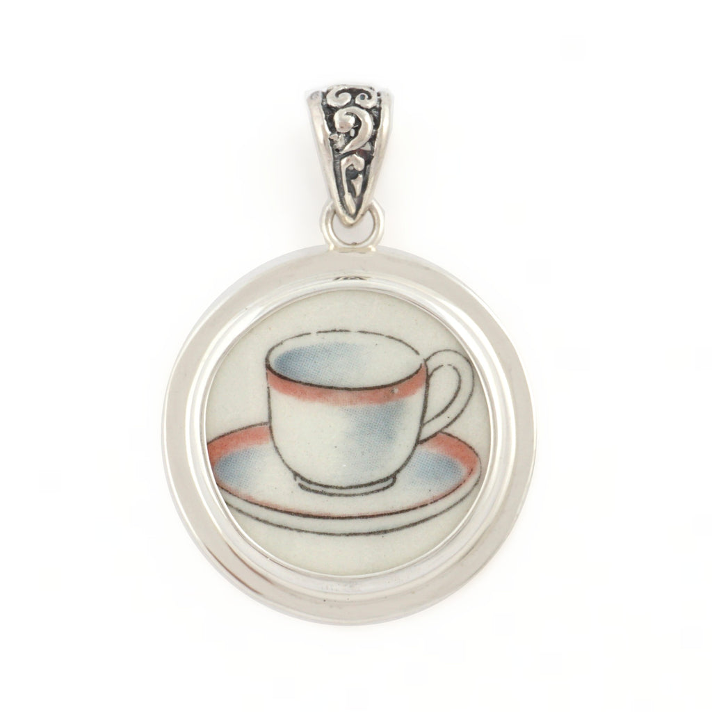 Broken China Jewelry Beatrix Potter Tea Cup Sterling Pendant