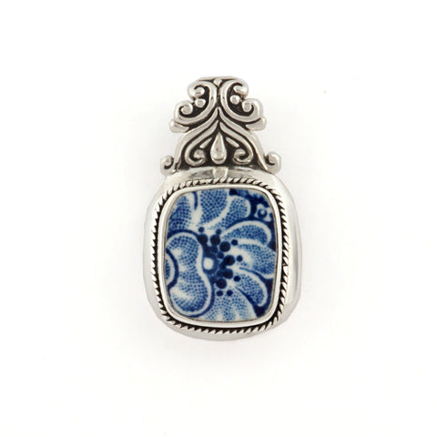 Broken China Jewelry Staffordshire Liberty Blue Colonial Scenes Sterling Silver Pendant