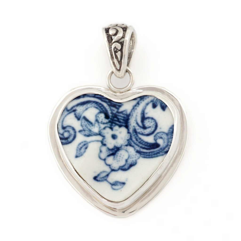 Broken China Jewelry Coaching Scenes Johnson Brothers Blue Floral Heart Sterling Pendant