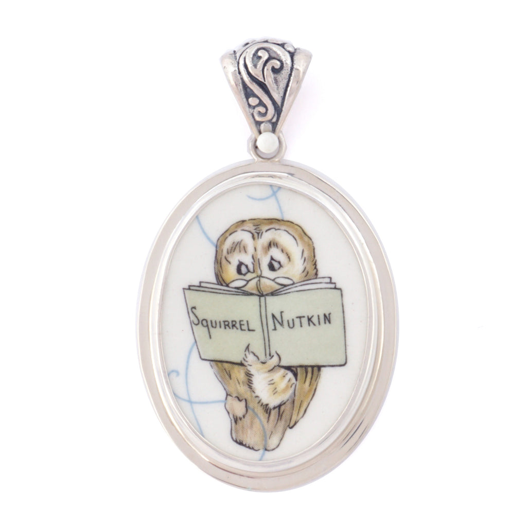 Broken China Jewelry Beatrix Potter Owl Reading Squirrel Nutkin Large Sterling Pendant