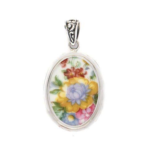 Broken China Jewelry Royal Albert Lady Carlyle Blue & Yellow Flower Sterling Oval Pendant