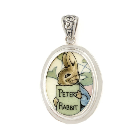 Broken China Wedgwood Beatrix Potter Peter Rabbit Sterling Oval Pendant