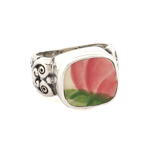 SIZE 6 Broken China Jewelry Franciscan Desert Rose Pink Rose Sterling Ring