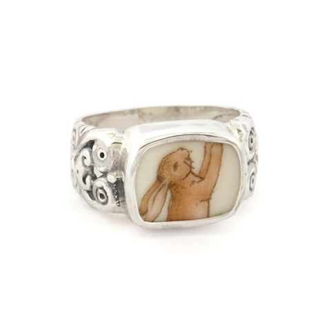 SIZE 8 Broken China Jewelry - Royal Doulton Bunnykins Bunny Rabbit Sterling Ring
