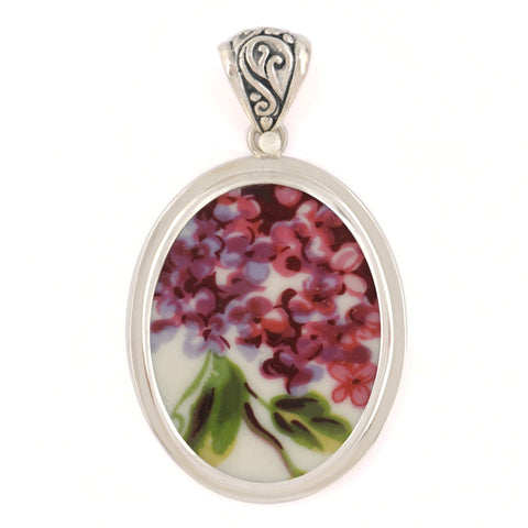 Broken China Jewelry Purple Lilac Flowers w/Green Leaves Sterling Oval Pendant