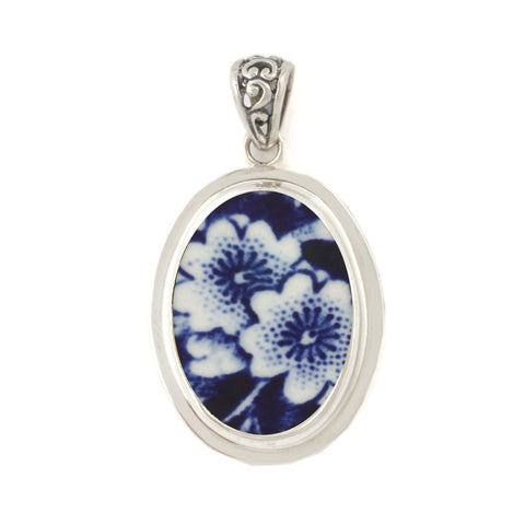 Broken China Jewelry Burleigh Blue Calico Double Flower Sterling Oval Pendant