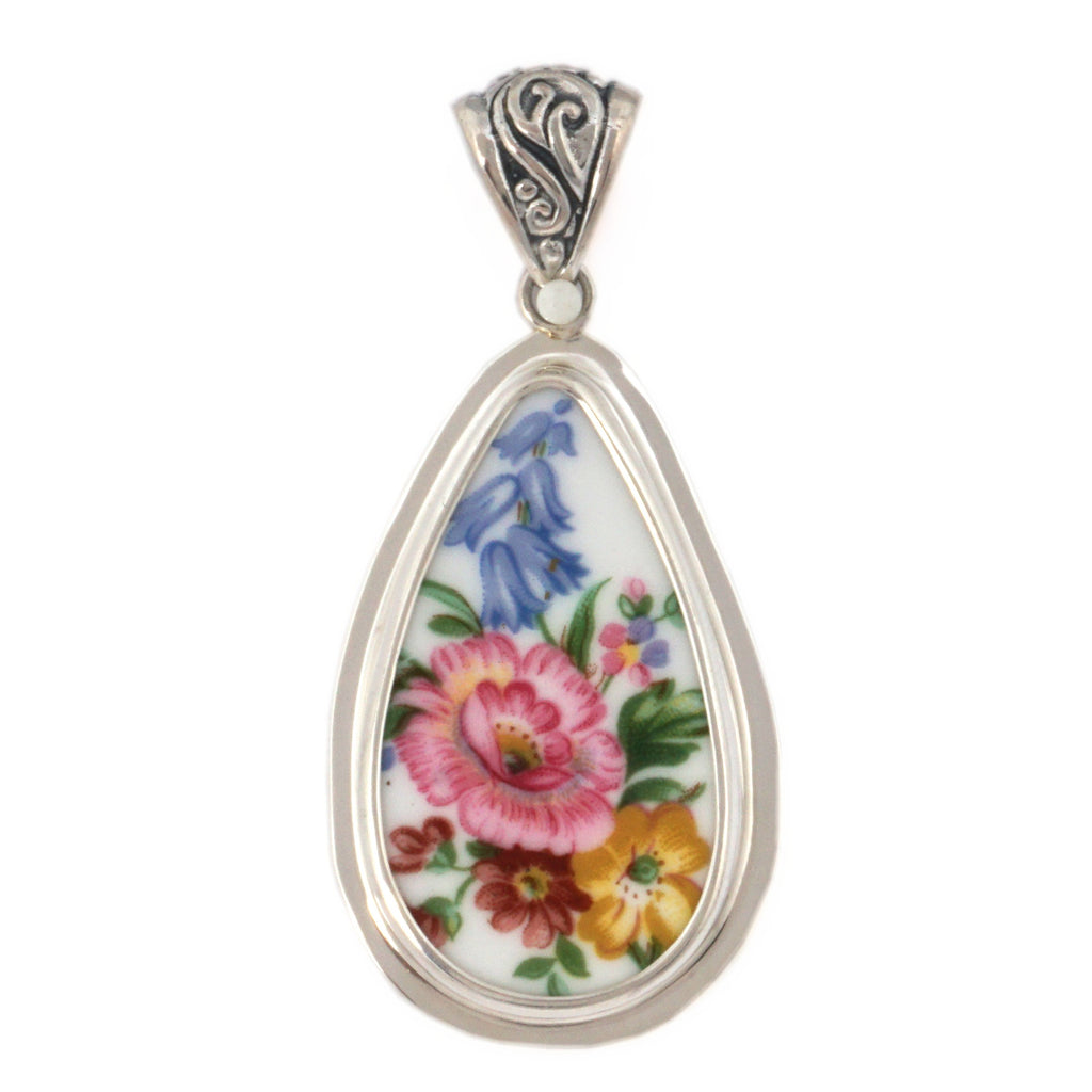Broken China Jewelry Royal Albert Lady Carlyle Pink Rose With Blue Flowers Sterling Tall Drop Pendant