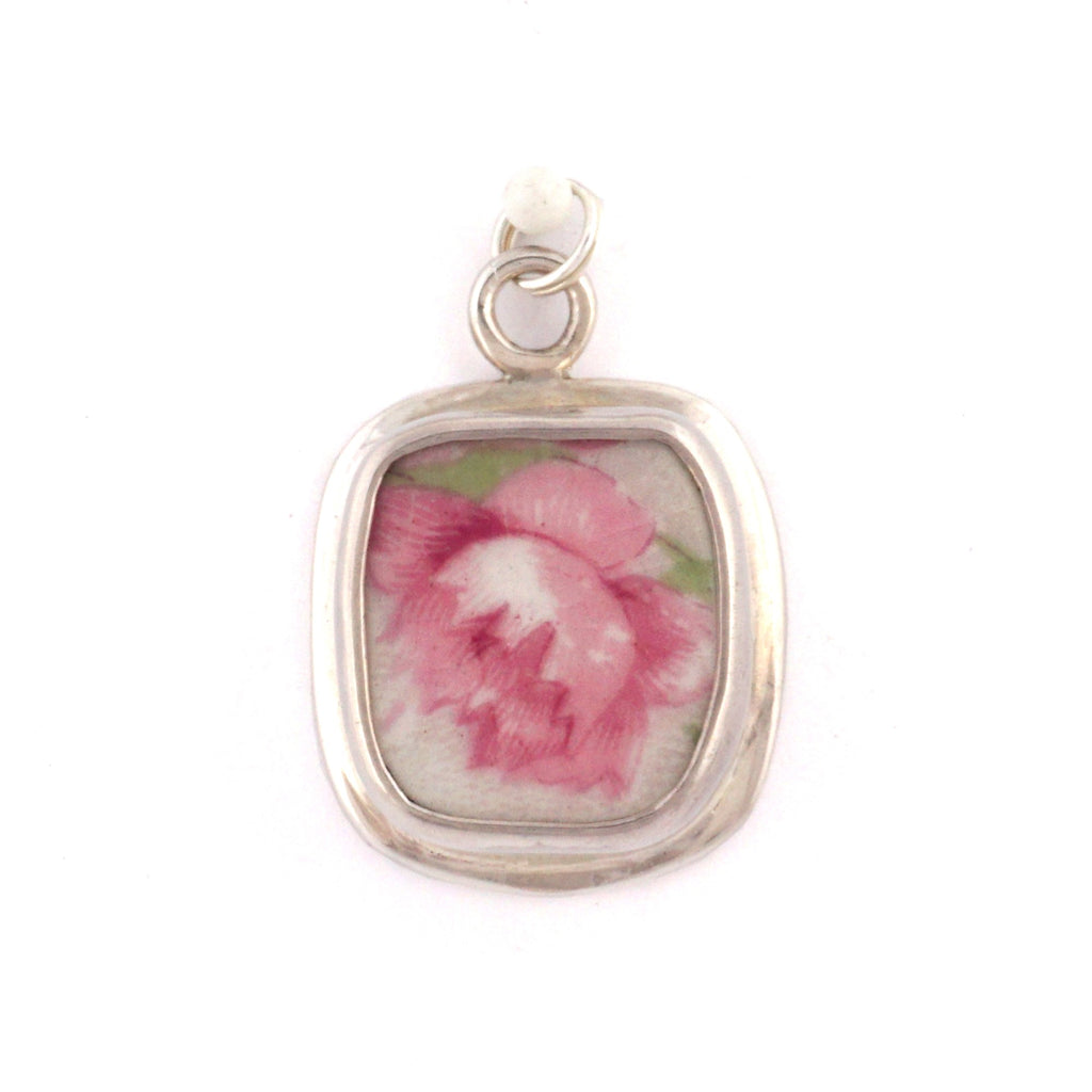 Broken China Jewelry Antique Pink Cabbage Rose Sterling Silver Charm 13-60