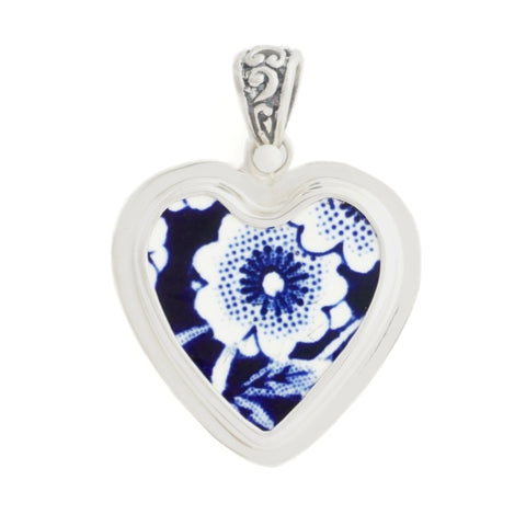 Broken China Jewelry Burleigh Blue Calico Single Flower Sterling Silver Heart Pendant