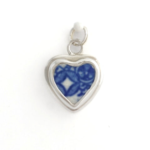 Blue Willow Geometric Pattern - Broken China Jewelry - Sterling Silver Charm