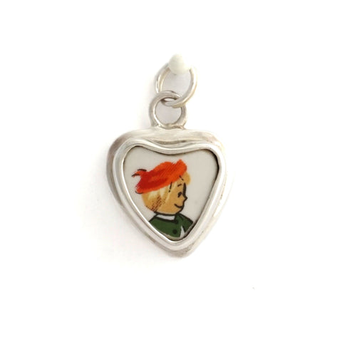 Broken China Jewelry Pfaltzgraff Christmas Boy with Beret Sterling Heart Charm