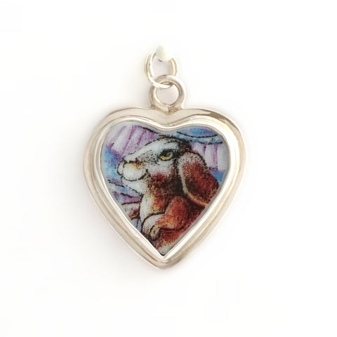 Broken China Jewelry Bill Bell Bunny Sterling Heart Charm - A