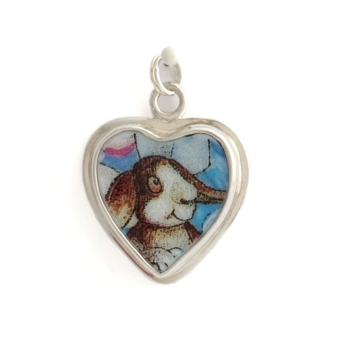 Broken China Jewelry Bill Bell Bunny Sterling Heart Charm - B