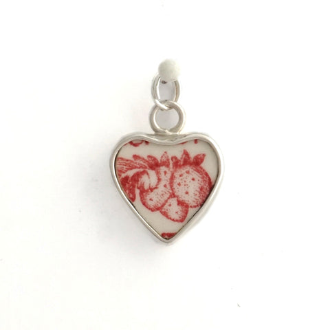Broken China Jewelry Strawberry Fair Sterling Heart Charm