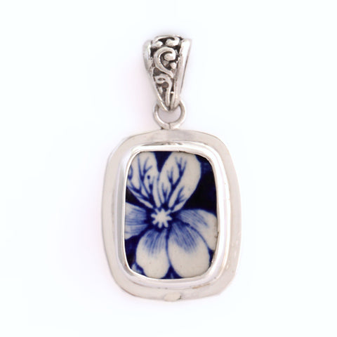 Broken China Jewelry Blue Spode Tower Transferware Flower Sterling Pendant