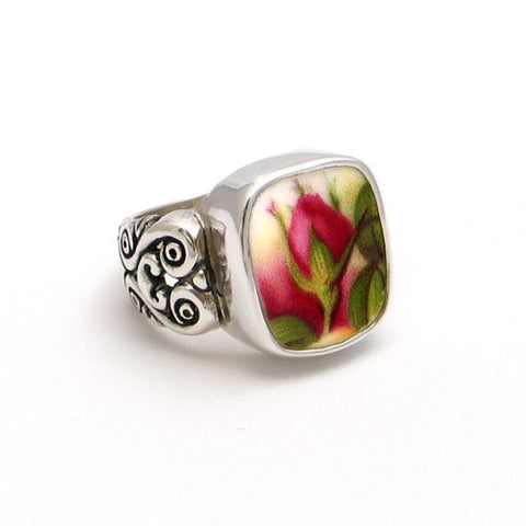 Broken China Jewelry Old Country Roses Pink Red Flame Rose Bud Sterling Ring