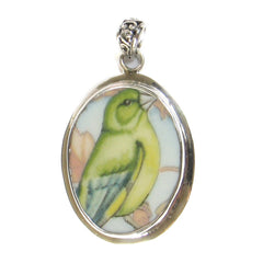 Broken China Jewelry Wedgwood Garden Birds Greenfinch Finch Bird Sterling Pendant - Vintage Belle Broken China Jewelry
