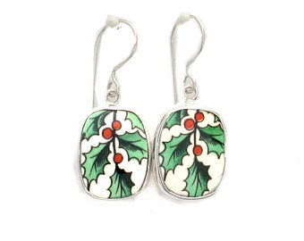 Broken China Jewelry Spode Christmas Tree Holly Sterling Rectangle Dangle Earrings