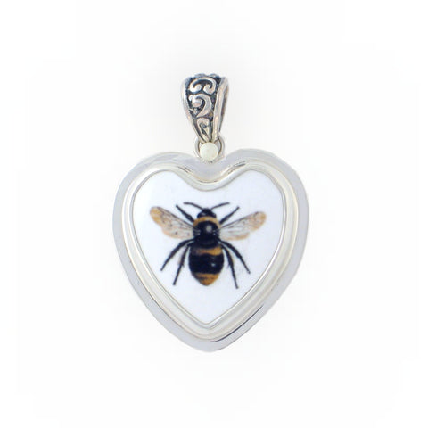 Broken China Jewelry Black and Yellow Bee Sterling Heart Pendant