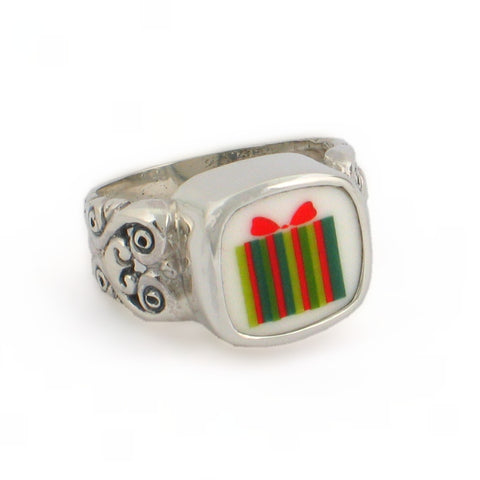 Broken China Jewelry Green Retro Mod Present Gift Sterling Ring