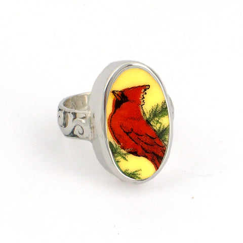 Broken China Jewelry Red Bird Cardinal Thin Band Sterling Ring