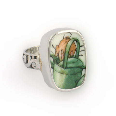 Broken China Jewelry Beatrix Potter Peter Rabbit Watering Can Sterling Ring